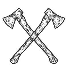 Crossed axes engraving apparel print design vector