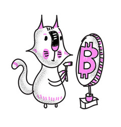 cryptocurrency concept with cat miner and bitcoin vector image
