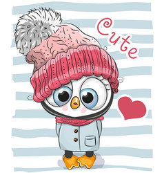 Cute cartoon penguin girl in a hat vector