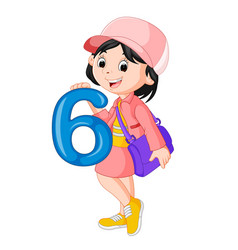 Cute child holding balloon with number six vector