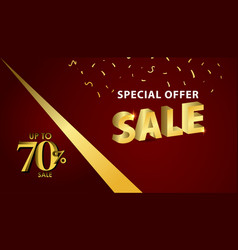 Discount up to 70 special offer gold banner vector
