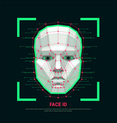 face id concept biometric identification or vector image