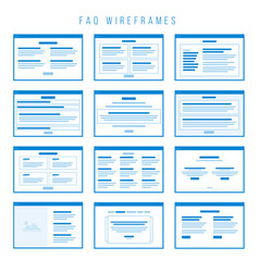 Faq wireframe components for building prototypes vector