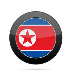flag of north korea shiny black round button vector image