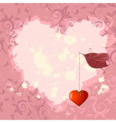 floral valentine with a bird vector image