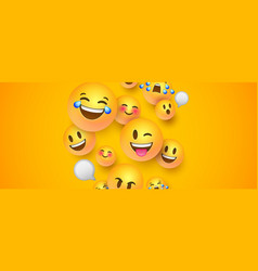 Funny 3d smiley face banner social chat icons vector