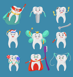 Funny tooth cartoon character set flat vector
