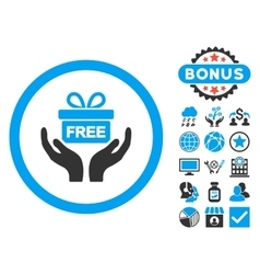 Give Present Flat Icon with Bonus vector image