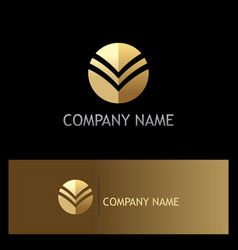 Gold round abstract business company logo vector