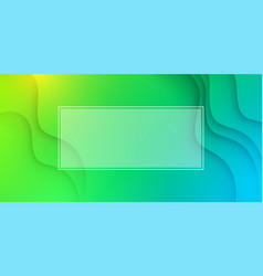green wavy background with white frame vector image