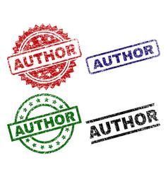 Grunge textured author stamp seals vector