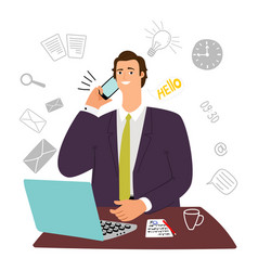 guy manager secretary assistant businessman vector image