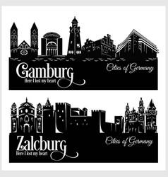 Hamburg and zalzburg - city in germany detailed vector