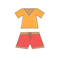 hand drawn t-shirt and shorts vector image