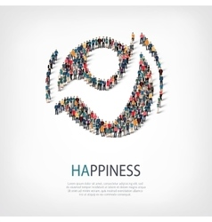 Happiness people sign 3d vector