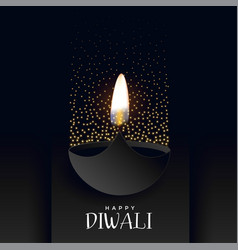 Happy diwali dark background with sparkles vector