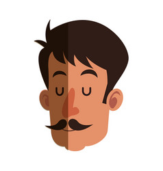 Head man with mustache close eyes shadow vector
