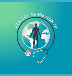 healthy aging month logo icon vector image