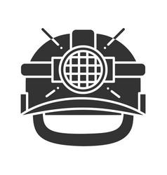 industrial safety helmet glyph icon vector image