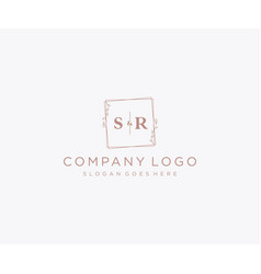 Initial sr letters decorative luxury wedding logo vector