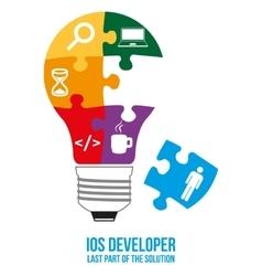 IOS developer search puzzle design concept vector