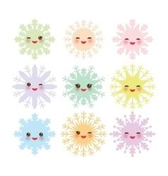 Kawaii snowflake set blue mint orange pink lilac vector