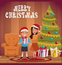 Kids in chrismtas cartoon vector