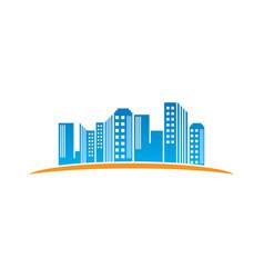 landscape building town icon logo vector image