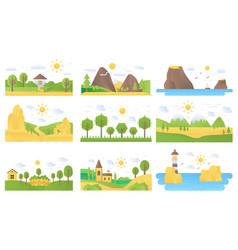landscape cartoon flat concept nature icons vector image