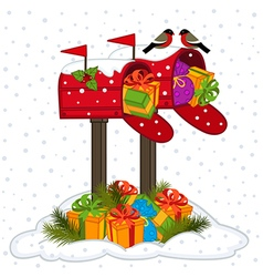 Mailbox with Christmas gifts vector