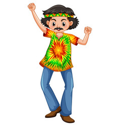 man in hippie clothes vector image