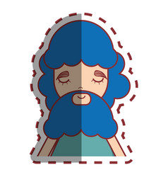 Man with blue beard peace and love vector