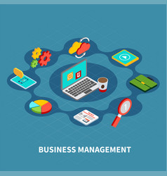 Management round isometric composition vector
