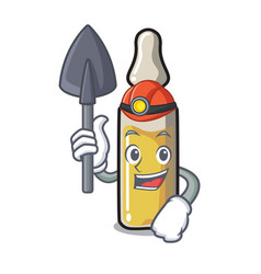 Miner ampoule mascot cartoon style vector