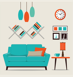 Modern design interior living room vector
