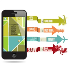 Modern travel infographic with a smartphone vector