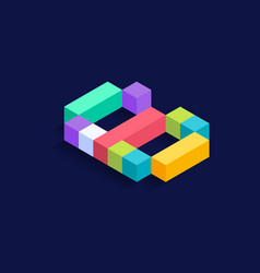 number 6 isometric colorful cubes 3d design vector image