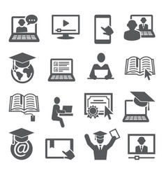 online education icons set on white background vector image