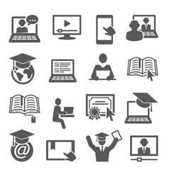 online education icons set on white background vector image