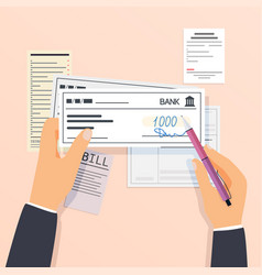 payments and financial operations signing bank vector image