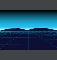 Perspective grid in retro futurism style abstract vector