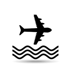 Plane and water icon vector