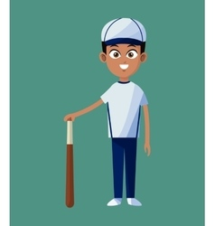 Player boy baseball uniform bat and ball green vector