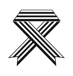 Rainbow ribbon black simple icon vector