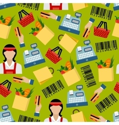 Seamless background of grocery shopping pattern vector