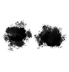 set black watercolor splatter stain texture vector image