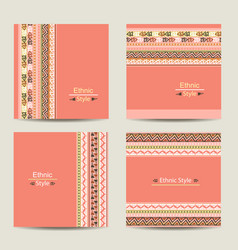 set cards with ethnic design vector image