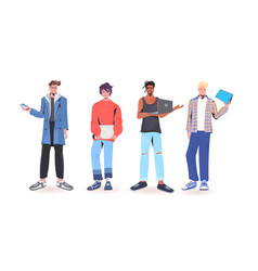 Set men holding digital devices mix race guys in vector