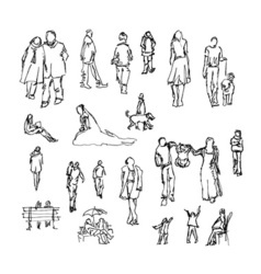 Set of doodle lined people Trace collection vector image