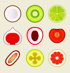 set of flat fruit and vegetables colored simple vector image